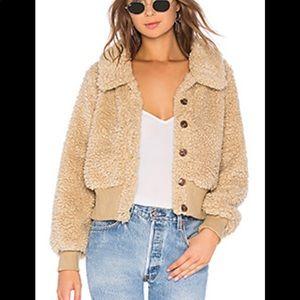 Tularosa plush faux fur camel color jacket